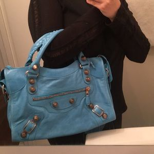 Balenciaga Blue Paon Rose Gold HW City Bag